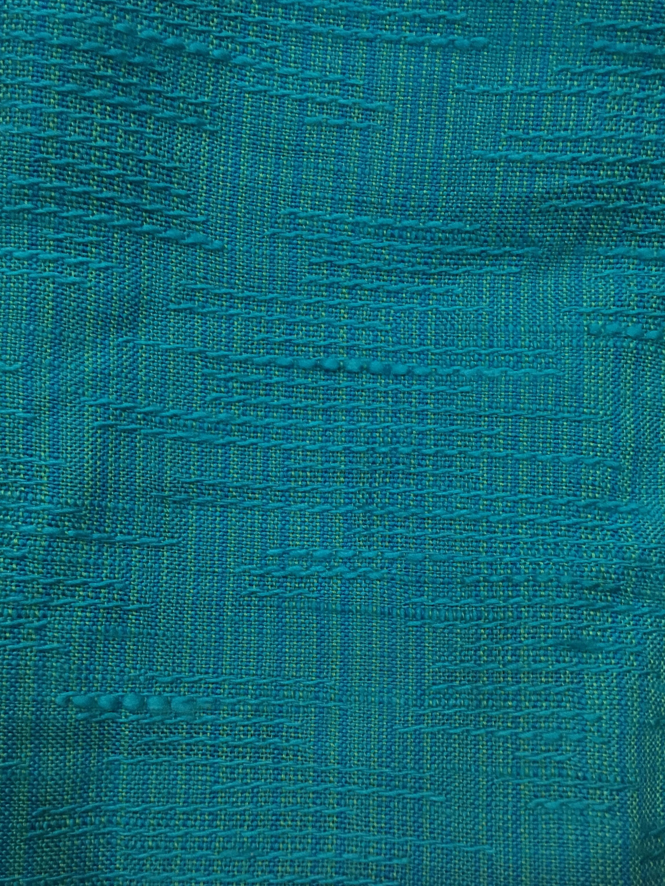 Turquoise Faded Retro Woven Textured