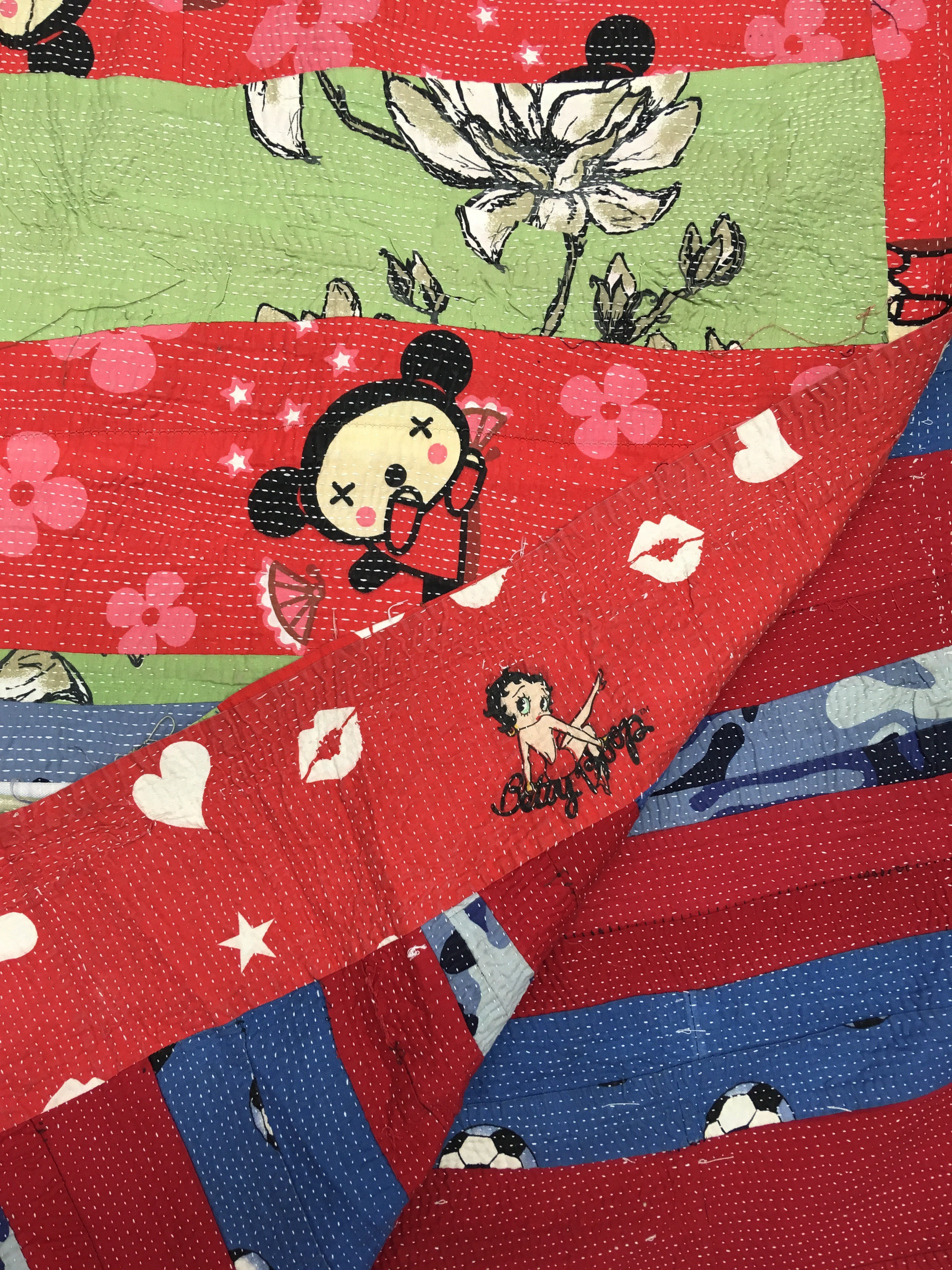 Red Blue Green Football/Pucca cartoon Patchwork