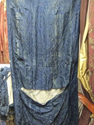 Blue Antique Shredded Silk Damask