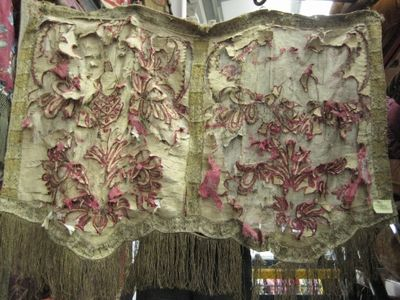 Red And Beige Shredded Antique Applique
