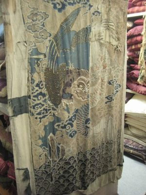 Beige And Blue Chinese Embroidered Dragon Panel