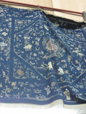 Blue With Fine Chinese Embroidered Figures