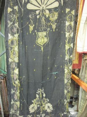 Black With Yellow And Gold Worn Embroidery