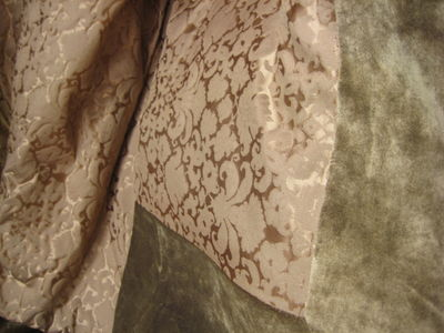 Dark Gold Silk Damask With Velvet Border