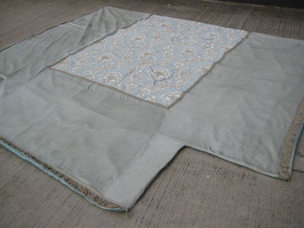 Pale Blue Velvet Bedcover Floral Centre Panel