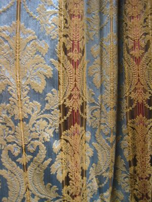 Pale Blue, Gold, Red Stripe Damask