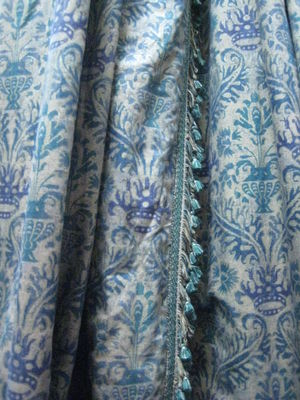 Gold/Turquoise And Blue Print Damask