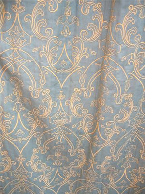 Green Gold Raised Line Damask