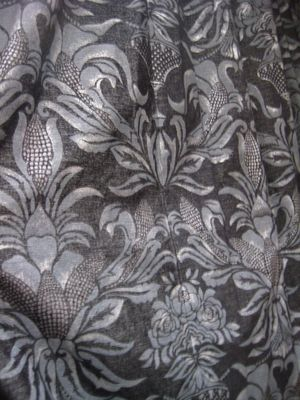Black And Grey Printed Damask