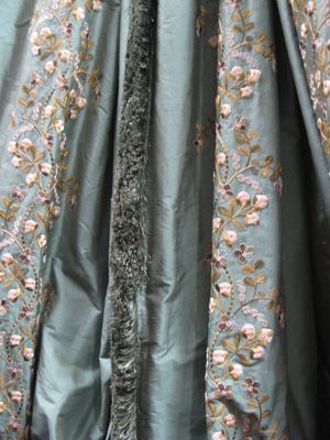 Aqua Floral Embroidered Silk
