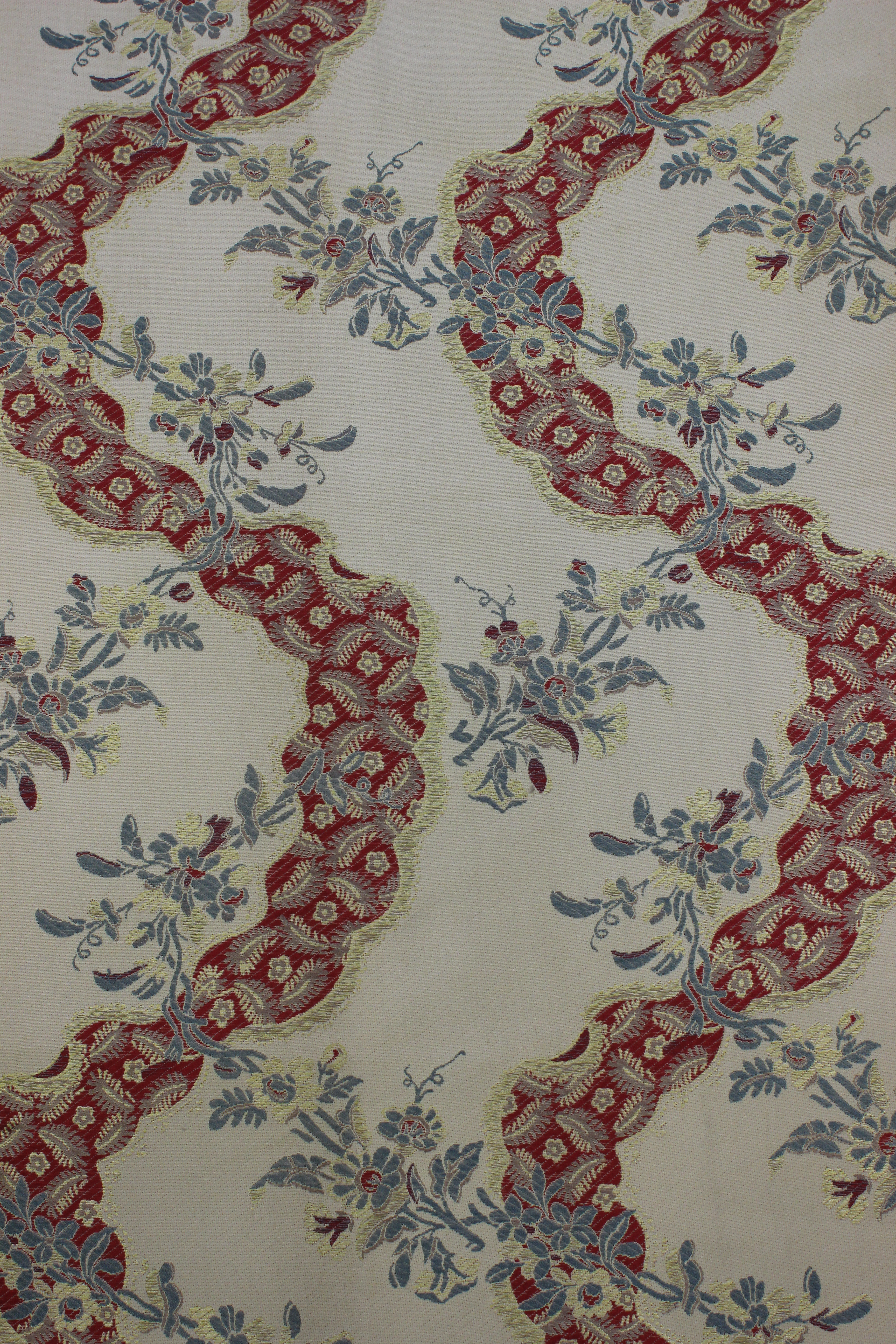 Red And Cream Wavy Brocade