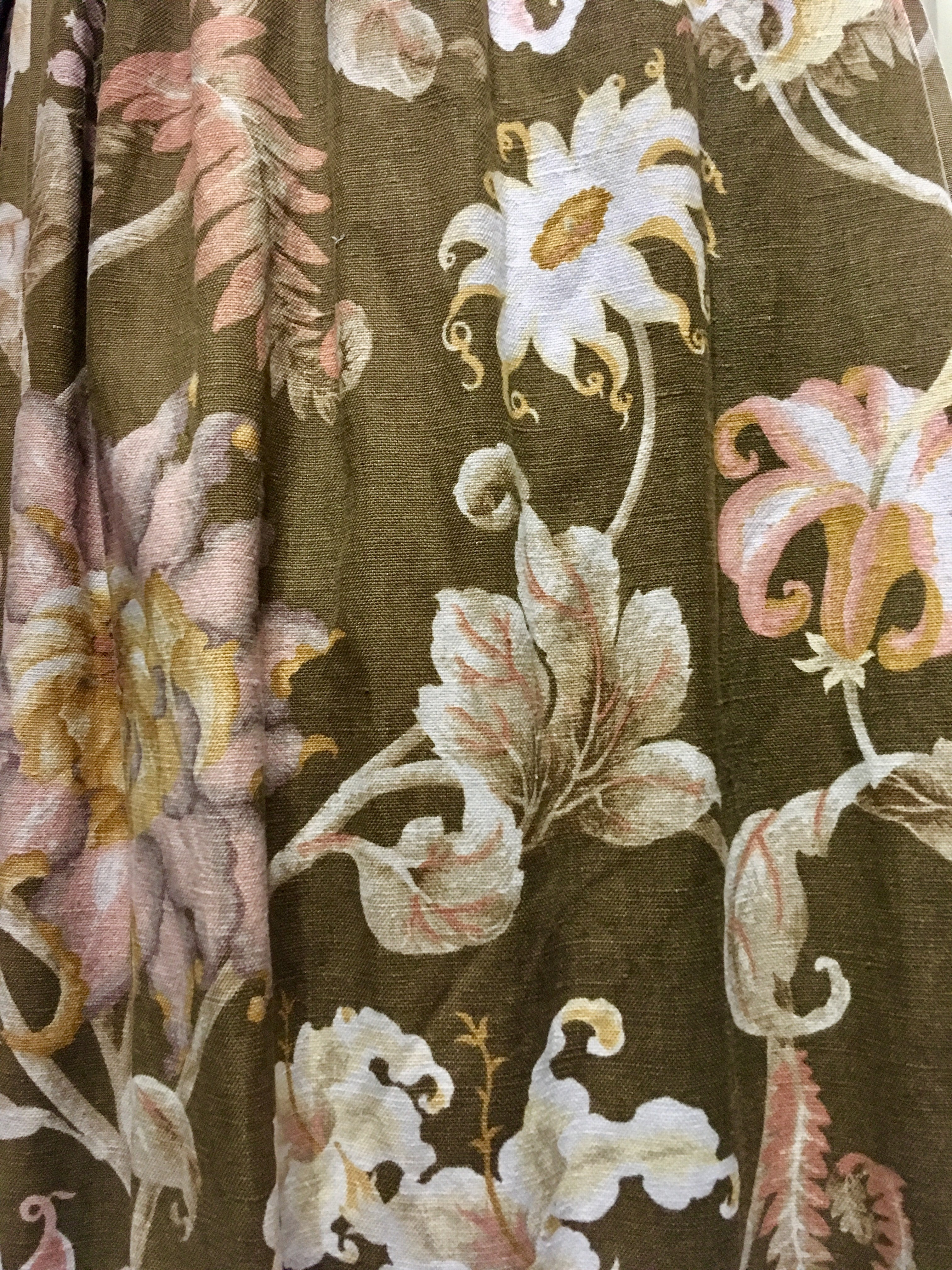 Faded Goldy Brown/Cream Retro Floral, Lined